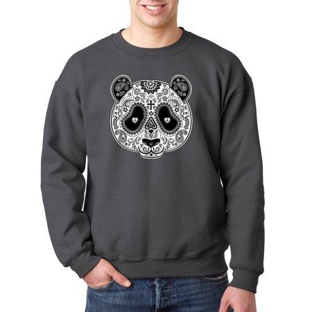 eddb0706d29 790 - Crewneck Paisley Panda Bear Day Of The Dead Sweatshirt 4XL Charcoal