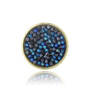 Yellow Gold Flashed Bermuda Blue Crystal Rocks Cluster Ring Made with Swarovski Crystals - Size 8