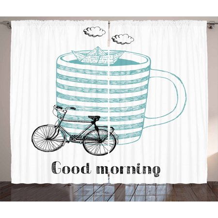Quote Curtains 2 Panels Set, Good Morning Theme with Little Paper Ship Sailing inside Cup of Coffee Joy, Window Drapes for Living Room Bedroom, 108W X 84L Inches, Seafoam and Black, by Ambesonne ()
