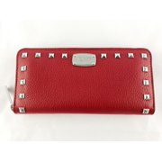Michael Kors Jet Set Continental Zip Around Wallet Studded Red Blue Gray Color: Red