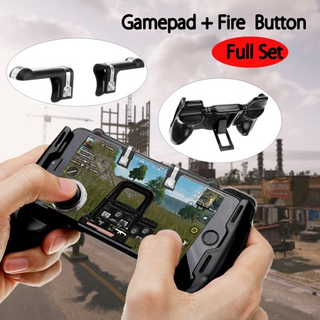 Fire Button + Swing Arms Gamepad + 2 Joysticks Gaming Controller Handle Trigger Phone Holder For PUBG Mobile Legends ACT FPS FGT RPG Online (The Best Mobile Rpg Games)