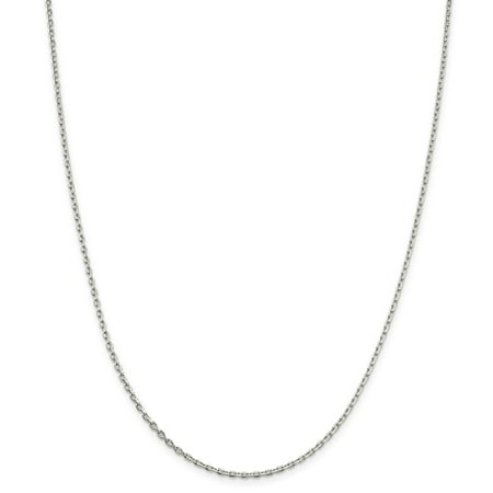 Yellow Gold Oval Cable Chain (925 Sterling Silver 2mm Beveled Oval Cable Necklace Chain -24