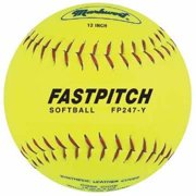 "12"" Yellow Genuine Leather Fast Pitch Softballs from Markwort - 1 Dozen"