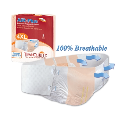 "Tranquility AIR-Plus Bariatric Brief, 4XL, 70"" to 106"" Waist, Heavy Absorbency, 2195 - Pack of 8"
