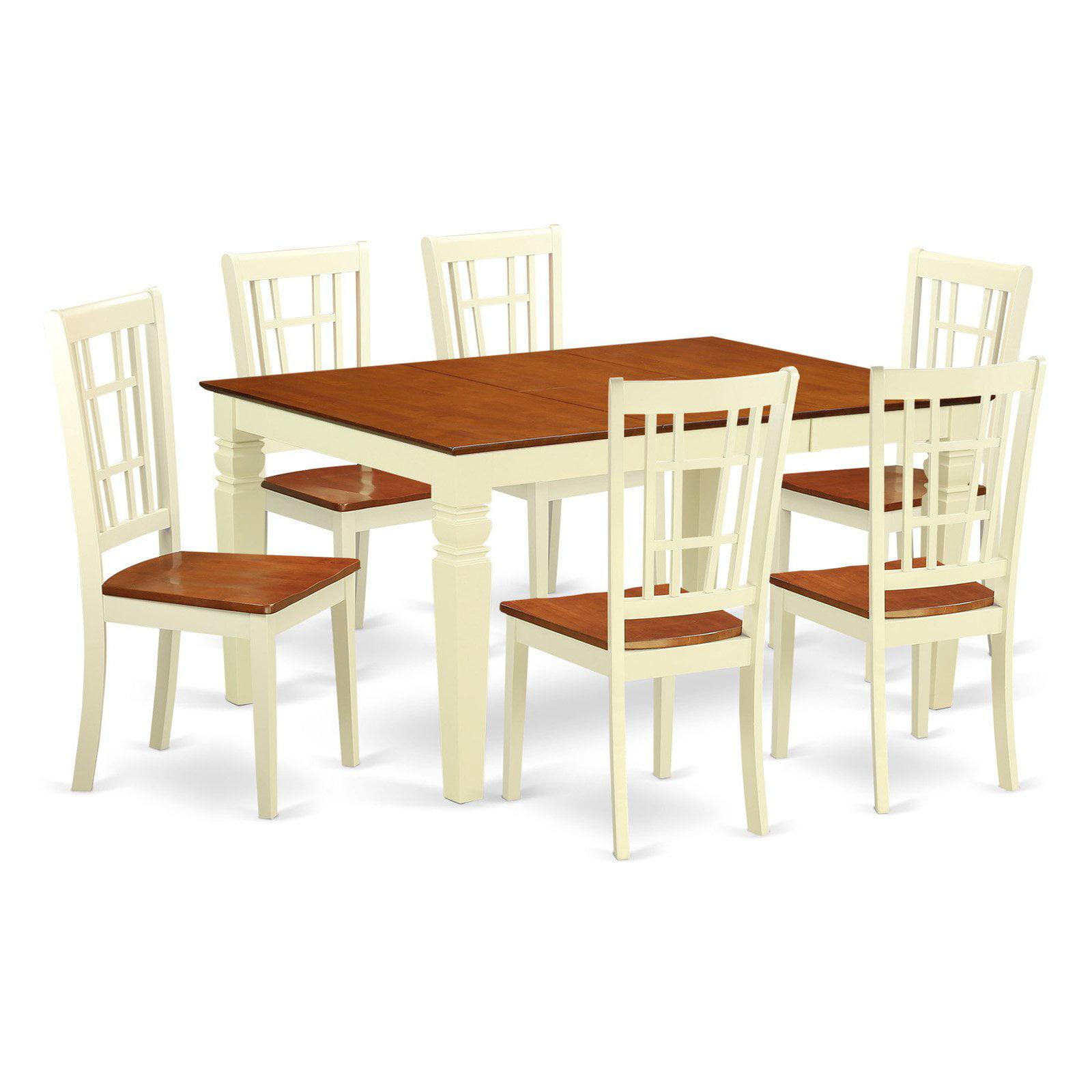 East West Furniture Weston 7 Piece Windowpane Dining Table Set