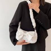 Yocowu Retro Women Bowknot Pleated Underarm Bags Pearl Chain Solid Color Purse Handbags - image 6 of 9