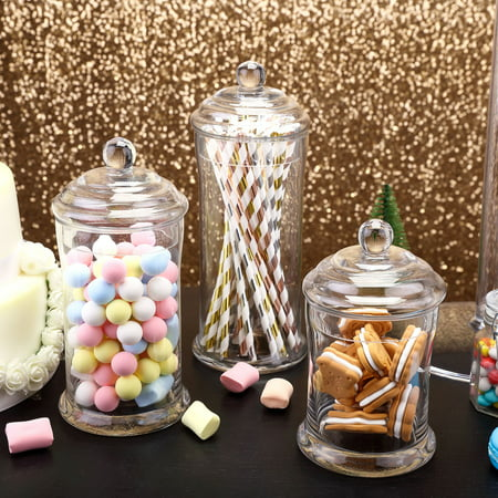 Efavormart 3 Pack | Clear Glass Apothecary Jars Candy Buffet Containers with Lids For Wedding Party Favor Decor -  - Candy Buffet Jars For Sale