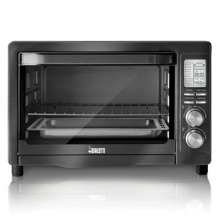 Bialetti Extra Large 6 Slice 1800 Watt Countertop Convection Toaster Oven, Black