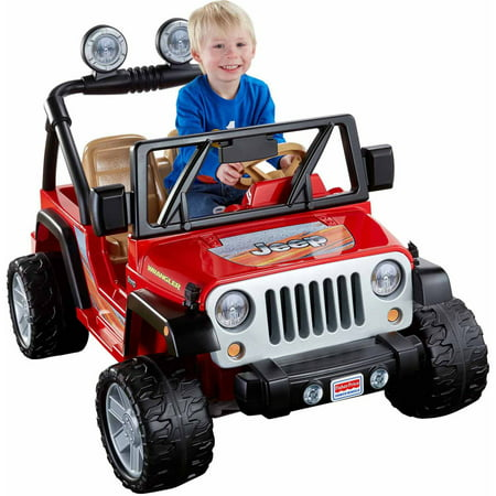 (Power Wheels Jeep Wrangler 12-Volt Battery-Powered Ride-On, Red)