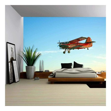 Wall26 Red Vintage Airplane Flying Blue Sky Canvas Art