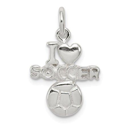 Sterling Silver Polished I Love Soccer