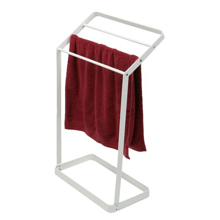 Mind Reader 3 Tier Bath Towel Bar Stand Alone Bathroom Rack, Drying Stand, Towel Valet Holder, Metal, White Black Bathroom Towel Bar