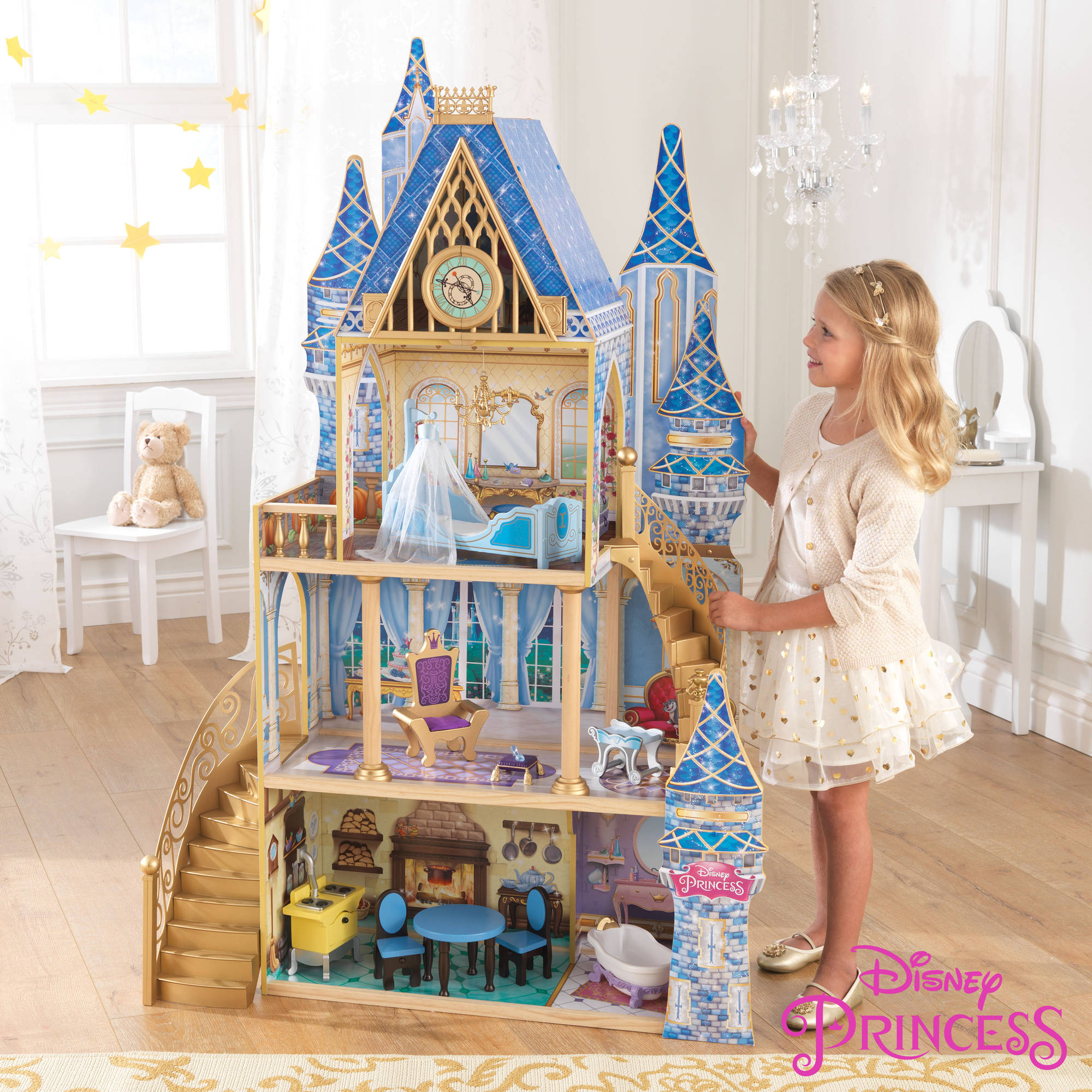 Beautiful Castle Dollhouse Furniture #11: Disney Princess Cinderella Royal Dreams Dollhouse With Furniture By  KidKraft - Walmart.com