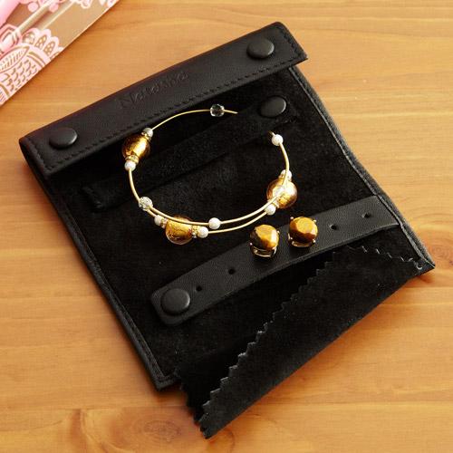 Personalized Mini Jewelry Roll, Black