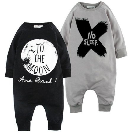 b6d591f99fd5 Baby Girls Boys Long Sleeve Romper Jumpsuit One-pieces to the Moon ...