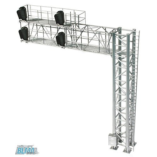 HO B/U Modern Cantilever Signal Bridge, Right Hand Multi-Colored