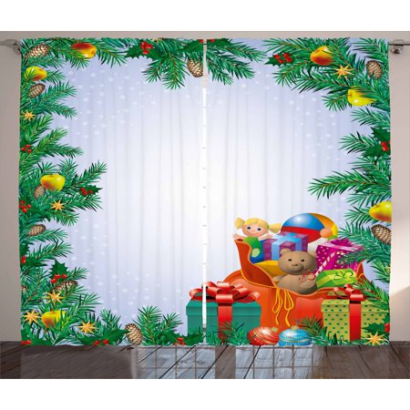 New Year Curtains 2 Panels Set, Children's Toys Composition Inside a Bag of Santa Teddy Bear Ball Ornate Boxes, Window Drapes for Living Room Bedroom, 108W X 84L Inches, Multicolor, by Ambesonne