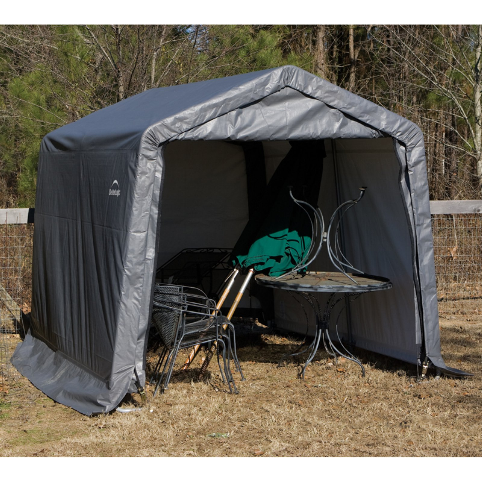 ShelterLogic 11' x 12' x 10' Peak Style Shelter, Gray