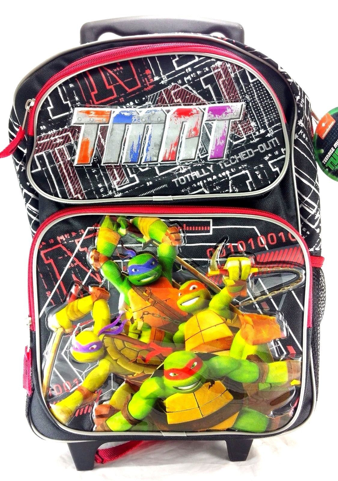 "TMNT Ninja Turtles 16"" Large Wheel Backpack; Red School Rolling Bag, Travel Roller back pack for boys"