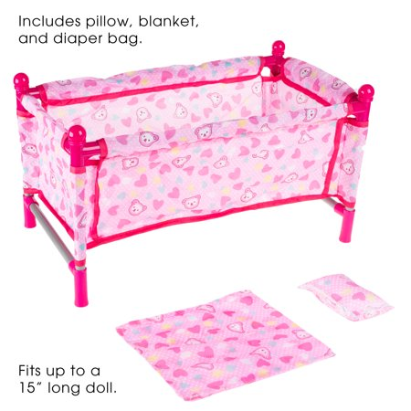 Baby Doll Bed and Playpen– Mini Play Crib for 15-Inch Dolls and Stuffed Animals by Hey! Play!