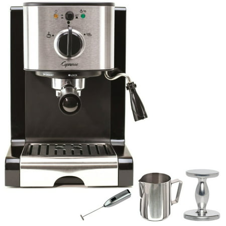 Capresso EC100 Pump Espresso and Cappuccino Machine Bundle with Knox Milk Frother, Frothing Pitcher and Espresso