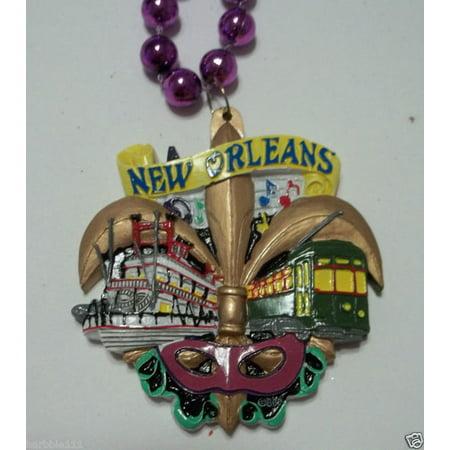 New Orleans Fleur De Lis Streetcar Mardi Gras Necklace Beads - Blue Mardi Gras Beads