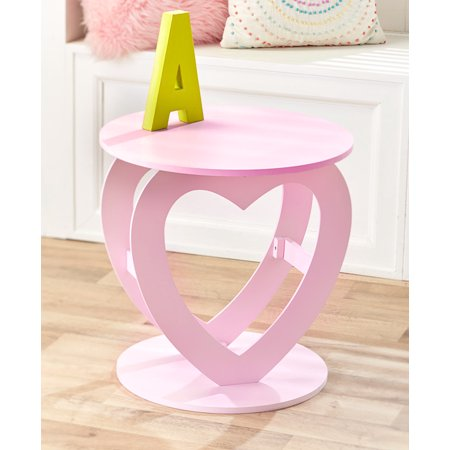 Novelty Pink Heart Shaped Room Accent Table for Kids, Teenagers Room Heart Shaped Occasional Table