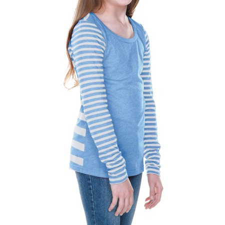 Kavio Girls 7-16 Long Sleeve Striped Jersey Multi Contrast Style GJP0635 - Striped White/Azure - Medium