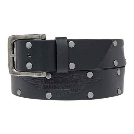 Men's Speed Bump Belt, Studded Black Leather Belt HDMBT11033-BLK, Harley Davidson ()