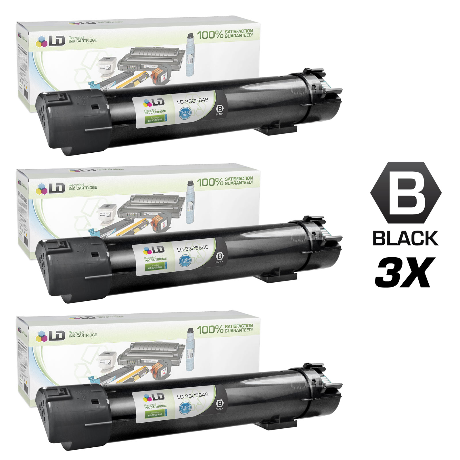 LD Remanufactured Dell 5130 HY Toner Cartridges: 330-5846 BLK, 330-5850 C, 330-5843 M, 330-5852 Y