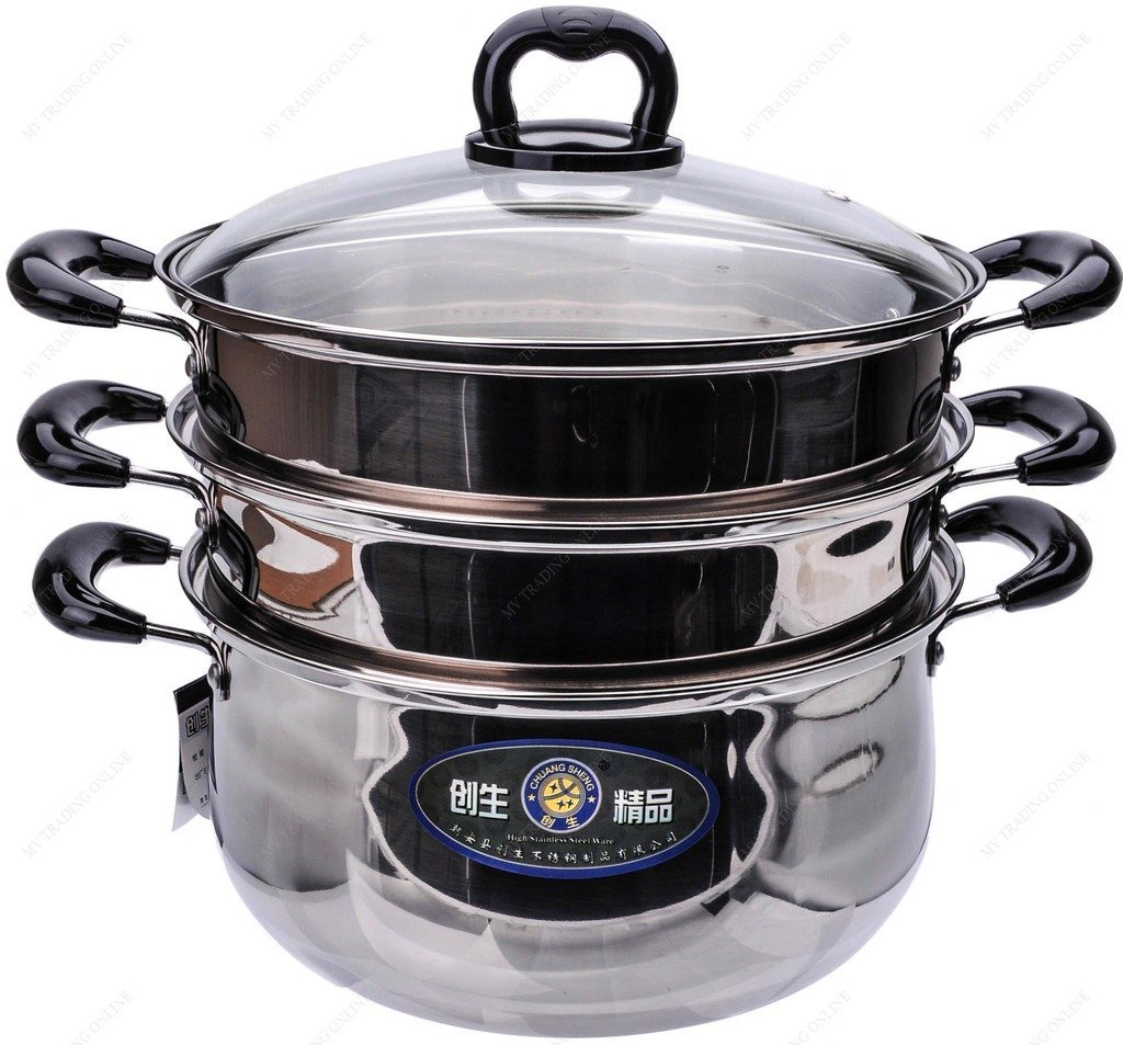 M.V. Trading S7326B Stainless Steel 3 Tiers Steamer Pot Steaming Cookware, 26cm, (10?-Inches)