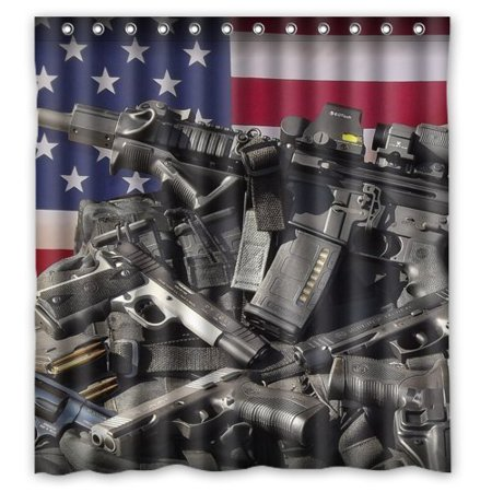 Ganma Nice Weapons Rifle Guns Ammo Background Popular And Cheap Shower Curtain Polyester Fabric Bathroom Shower Curtain 66x72 inches (Cheap Showers)