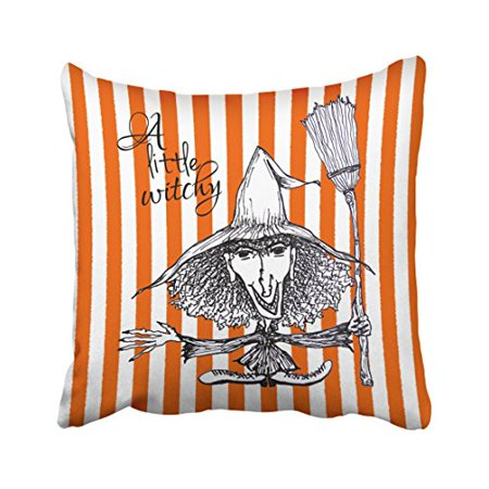 WinHome Vintage Cute White Orange Stripes Little Witch Halloween Pencil Art Polyester 18 x 18 Inch Square Throw Pillow Covers With Hidden Zipper Home Sofa Cushion Decorative Pillowcases](Cute Halloween Witch Clip Art)