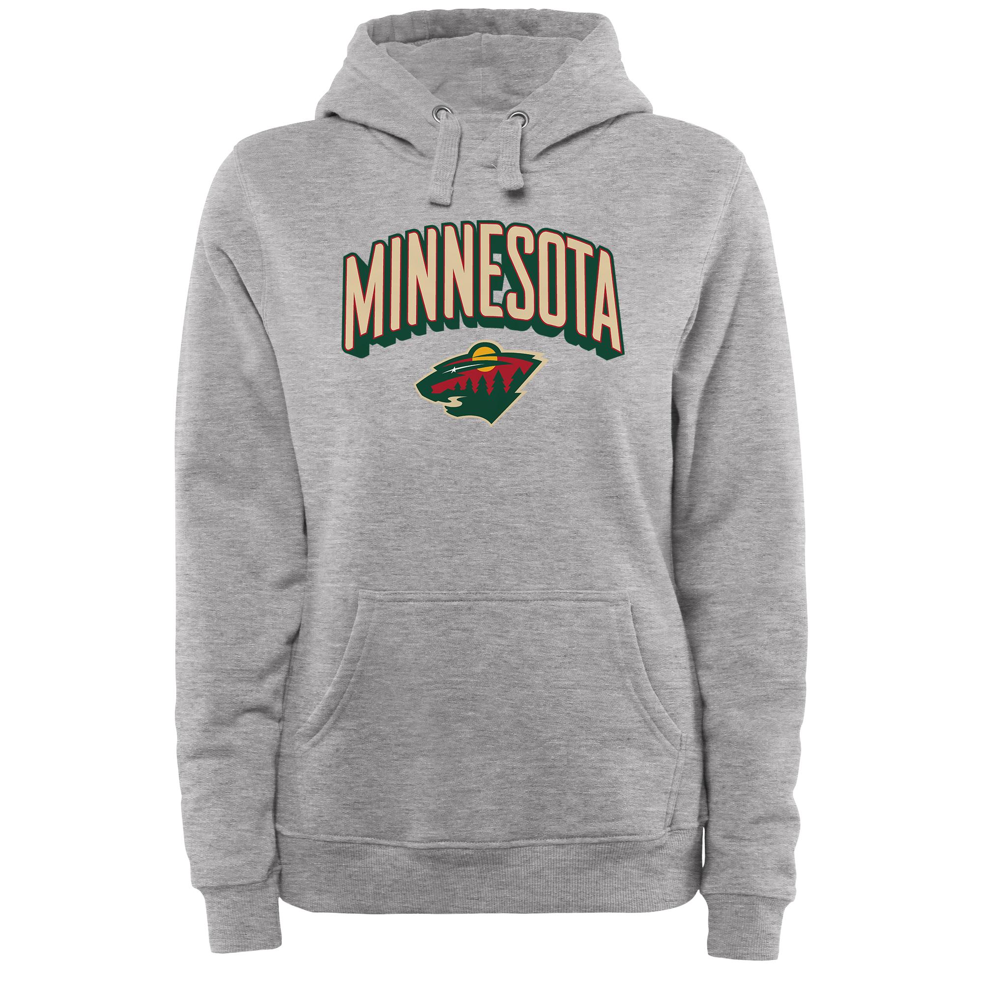 Minnesota Wild Women's ThreeDee Pullover Hoodie - Ash