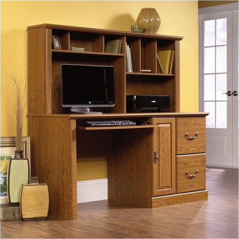 Pemberly Row Wood Computer Desk with Hutch in Carolina Oak