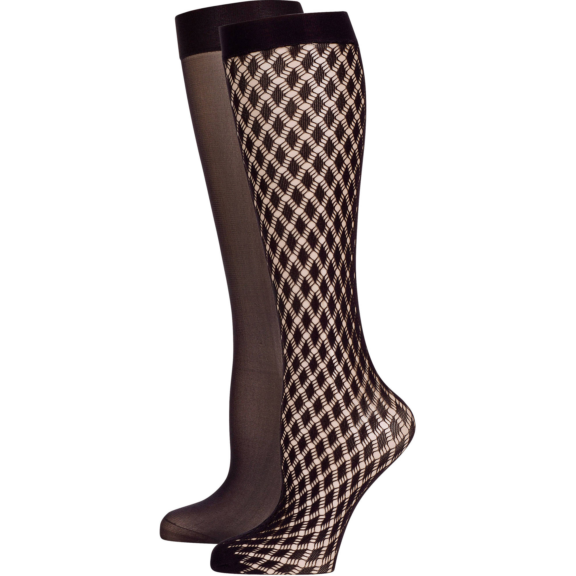 Peds Ladies Diagonal Diamond and Shimmer Trouser Socks, 2 Pairs