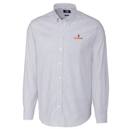 Fighting Illini Oxford (Illinois Fighting Illini Cutter & Buck Big & Tall Stretch Oxford Stripe Long Sleeve Button Down Shirt - Light Blue)