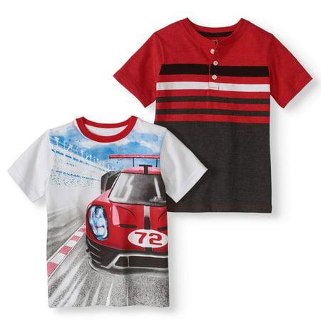 c8dbb0244 Boys' Short Sleeve Graphic Tee & Chest Striped Henley 2-Piece Set -  Walmart.com