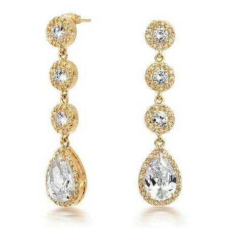 Gold Plated Crown Set CZ Pave Teardrop Chandelier Earrings