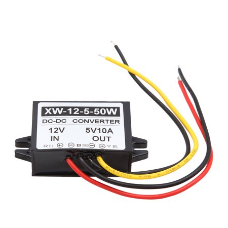 - DC 12V to 5V 10A 50W Car Step Down Power Supply Transformer Converter