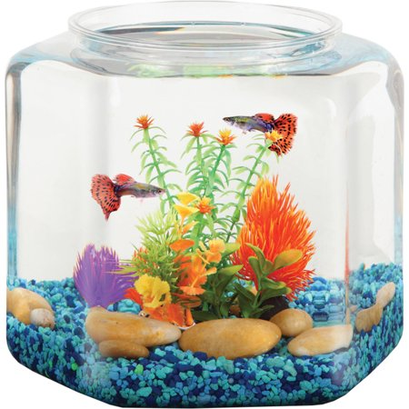 "Hawkeye 2 Gallon Fish Bowl Hex Shaped, Shatterproof Plastic, 9.25""L x 9.25""W x 9.25""H"