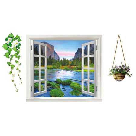 Faux Window Wall - iLH Faux Window Beach Tropical Blue Scenic Removable Wall Decor Decal Stickers