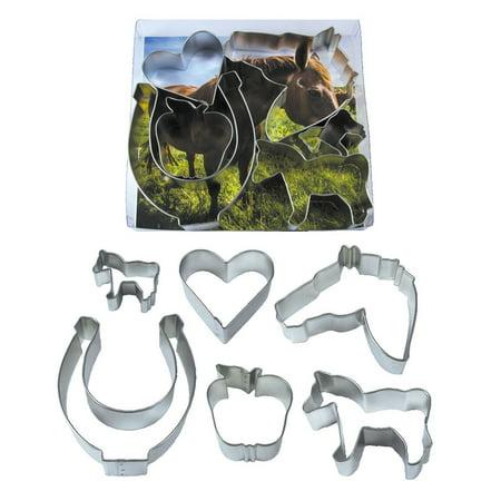 Equestrian - Horse, Apple, Heart, Horsehead, & Horseshoe Cookie Cutter Set - RM Cookie Cutter - 2000