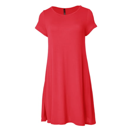 VIV Collection Short Sleeve Flare Hem Tunic Top (Coral, Small)