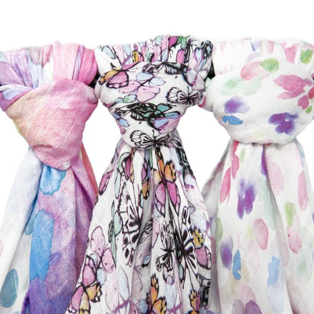 Kids N' Such Muslin Swaddle Blanket Set 'Flutter' Large 47 x 47 inch - Super Soft Bamboo Blankets - Butterflies, Flowers, Floral - 3 Pack Baby Shower Gift Bundle of Swaddles for Infant Girls