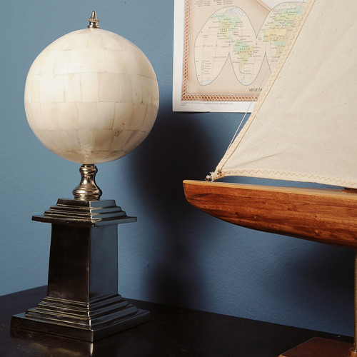 Old Modern Handicrafts Bone Globe with Alluminum Base by Old Modern Handicrafts