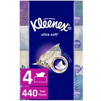 Kleenex Ultra Soft Facial Tissues, 4 Flat Boxes, 110 Tissues per Box (440 Tissues Total)