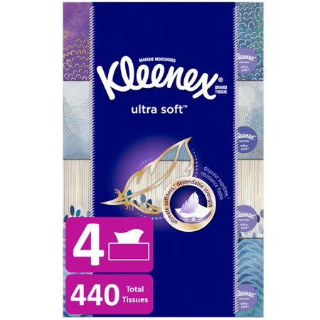 Kleenex Ultra Soft Facial Tissues, 4 Flat Boxes, 110 Tissues (440 Tissues
