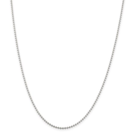 925 Sterling Silver 2mm Beaded Chain 16 Inch - image 5 de 5