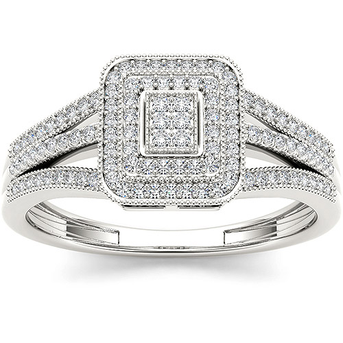 Imperial 1/6 Carat T.W. Diamond Cluster 10kt White Gold Engagement Ring